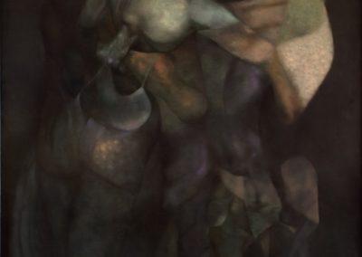Los guardianes del silencio, 1988, oil on canvas, 60×50″