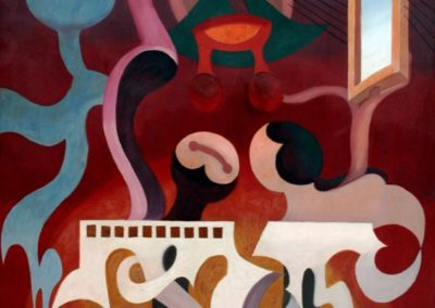 Músicos tocando un órgano, 1949, oil on wood, 72×48″