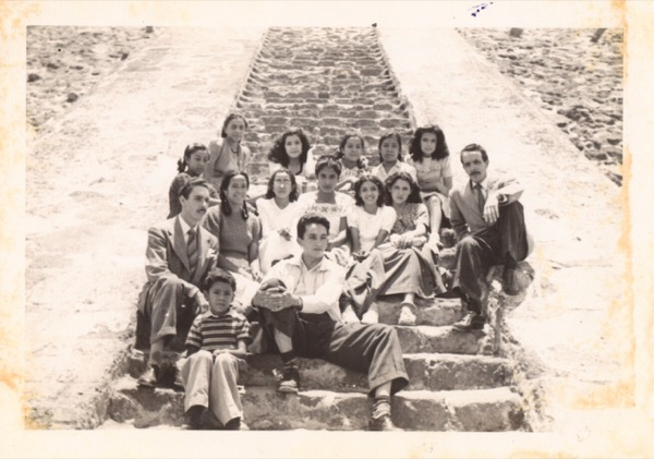 1947 - On the steps of Teotihuacan Pyramids in the summer of 1947 with students
