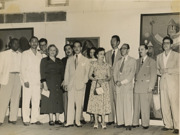 1950 - Rafael Soriano's Solo Exhibition at Parque Central in Havana, Cuba Oct. 26, 1950. Photographed with Wilfredo Lam and Roberto Diago