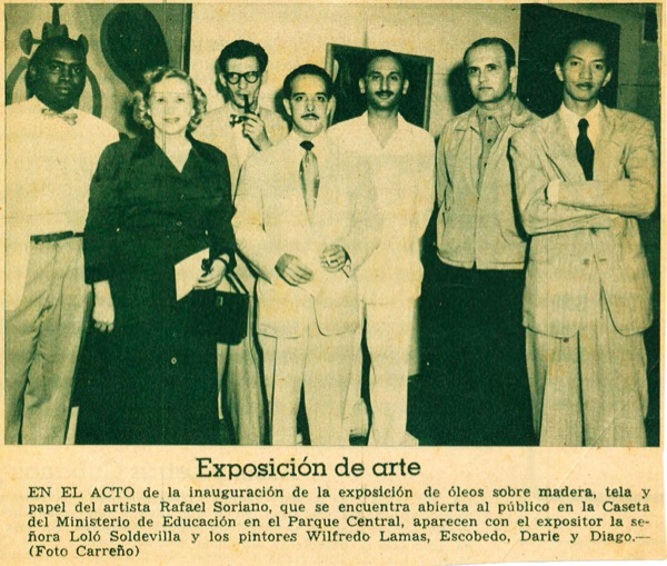 1950 - Solo exhibition at Parque Central in Havana, Cuba.Soriano followed a previous exhibit with Lam