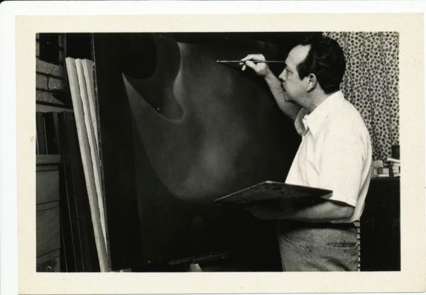 1980s - Soriano in his early 60s in his studio in Miami, FL