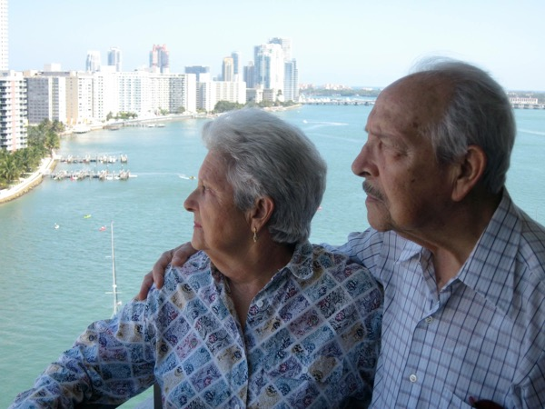 2009 - Photo of Rafael and Milagros, taken May 10, 2009, overlooking the bay in Miami Beach
