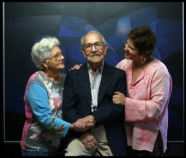 2010 - Rafael, Milagros and their daughter, Hortensia in Soriano_s studio. Photograph by Pedro Portal, 2010