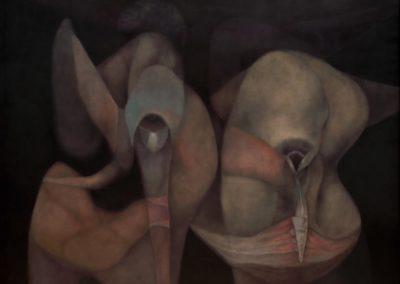 """Peregrinos de otras latitudes, 1990, oil on canvas, 50x60"""""""