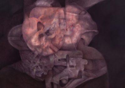 "Entidad medieval, 1994, oil on canvas, 50X50"""